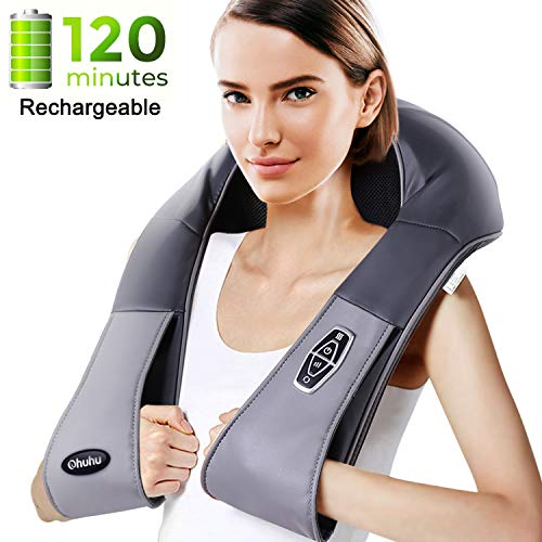 Upgraded Cordless Rechargeable Shiatsu Back and Neck Massager with Heat, Ohuhu Electric Back Massage Pillow with 3D Knead Deep Tissue for Foot, Legs, Body, Relieve Muscle Pain Valentine's Day Gift