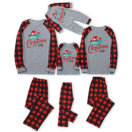 Christmas Pajamas for Family 2022 Matching Family Xmas Pjs Set Xmas Red Plaid Tops Long Pants Sleepwear Set
