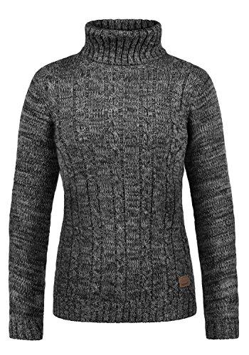 DESIRES Philipa Damen Rollkragenpullover Pullover Zopfstrick Mit Rollkragen Aus 100% Baumwolle, Größe:M, Farbe:Black (9000)