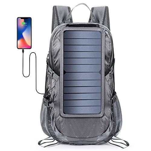USB充電ポート付き30L折りたたみソーラーパネルパワーバックパック、旅行ハイキング用の屋外バックパック登山
