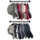 Mkono Hat Rack for Wall Baseball Cap Organizer Hanger with 20 Hooks Modern Metal Hat Holder Wall-Mounted Caps Display for Closet Door Bedroom Entryroom Laundry, Set of 2,Black