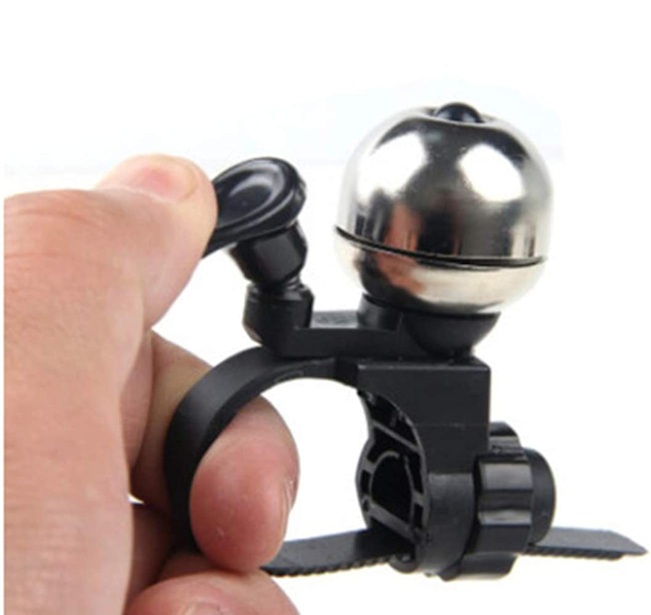 呼吸する外出是正する自転車ベル ミニ 脱着簡単 真鍮製 調整可能 ブラック/シルバー