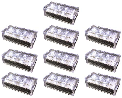 Fuchs Solar LED-Pflasterstein Wegbeleuchtung aus rutschfestem Glas IP67 kaltweiss leuchtend (10er Set)