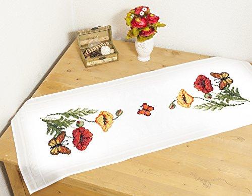 Kamaca Stickpackung Mohnblumen UND Schmetterlinge Kreuzstich vorgezeichnet aus 100% Baumwolle zum Selbersticken (Tischläufer 40x100 cm)