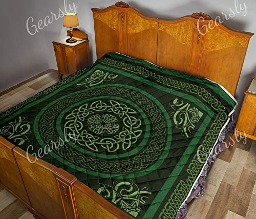 Gearsly Irish Celtic Quilts Super King Size - Pattern Blanket All-Season Quilts Comforters with Cotton King Queen Twin Size Beach Trips, Gifts Quilt