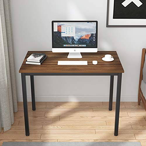 sogesfurniture Schreibtisch Computertisch Büromöbel PC Tisch, 100x60cm Bürotisch Arbeitstisch Esstisch aus Holz und Stahl, Einfache Montage, Walnuß BHEU-LD-AC100WN
