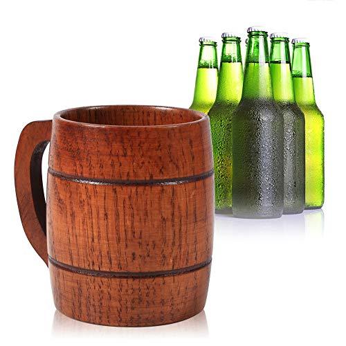 1 Pza práctica de madera de cerveza, leche, café, té, taza, duradera, hecha a mano, barra para el hogar, taza para beber con asa
