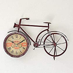 SWHJ Office Creative Decorative Rustic Bike Table Clock American Wrought Iron Bicycle Home Clock Wall Clock Vintage Living Room Wall Decor Watch 39cm (Color : Rust)
