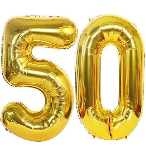 2 Palloncini Numero 50 in Oro, Ouceanwin Gigante Foil Palloncini Numeri 50 Elio Palloncino Gonfiabile 40 Pollici Pallone per Decorazioni Feste 50 anni Compleanno Donna Uomo (100 cm)