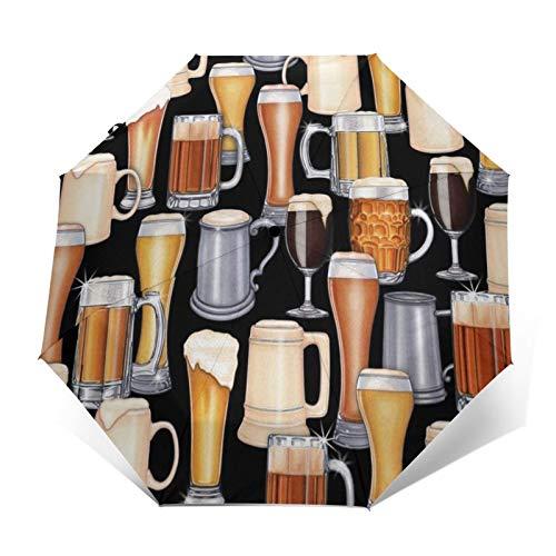 Regenschirm Taschenschirm Kompakter Falt-Regenschirm, Winddichter, Auf-Zu-Automatik, Verstärktes Dach, Ergonomischer Griff, Schirm-Tasche, Bier