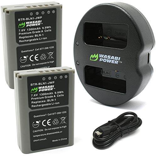 Wasabi Power Battery (2-Pack) and Dual USB Charger for Olympus BLN-1, BCN-1 and Olympus OM-D E-M1, E-M5, Pen E-P5