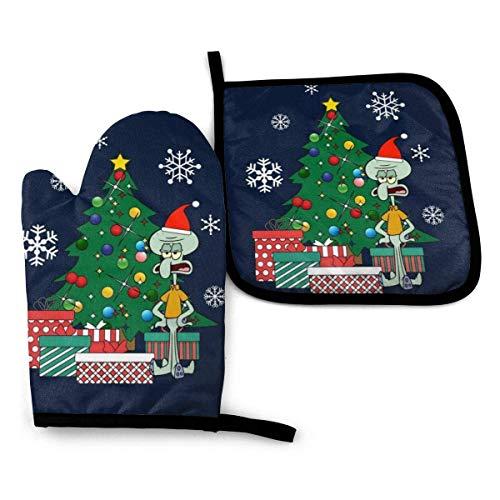 zsxaaasdf NI Thaddäus um den Weihnachtsbaum - Ofenhandschuhe und Topflappen Hitzebeständiges Kochen in der Küche