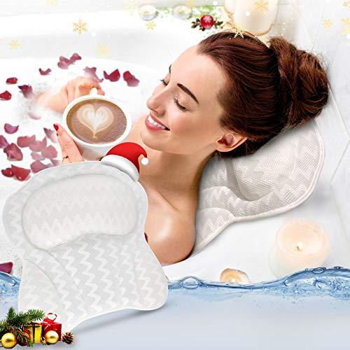 Badewannenkissen, Wannenkissen Nackenkissen mit 4D Air Mesh Technologie und 6 Saugnäpfen Komfort Wannenkissen Stützfunktion , für Kopf Rücken Nacken Geeignet für Badewannen und Home Spa,40x42x5cm weiß