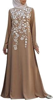 Lazzboy Frauen Muslim Abaya Kleid Blumenmuster Vintage Kaftan Maxikleider Muslimische Langarm Stickerei Knöchellang Tunika Dubai Damen Abendkleid Hochzeit Maxikleid