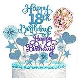 Torta Toppers de Cumpleaños Decoración, Cake Topper 17 Piezas Toppers de Pastel adorno para tarta Torta Toppers para cupcakes, postres, para fiestas de bebés, cumpleaños infantiles (Azul)