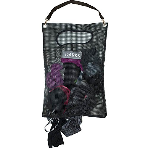 G.U.S. Over The Door Laundry Hamper with Attachable Shoulder Strap, Collapsible Mesh Door Hanging Laundry Bag w/ Stainless Steel Hooks, Reversible Light/Dark Tag to Easily Separate Your Laundry -Black