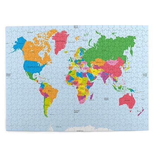 Adulto 500 Piezas Juego de Rompecabezas Mapa Colorido clásico del Mundo en Estilo político Viajes Europa América Asia África Juguetes Educativos para Niños Decoración hogareña
