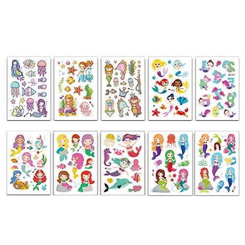 10 Blatt Kinder Temporäre Tätowierung Mermaid Princess Tattoo-Aufkleber-Körper-Aufkleber Wasserdichtes Karikatur Tattoos Sticker