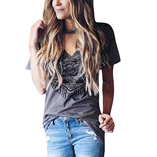 CLOOM Punk-T-Shirt Damen Kurzarm Halsband V-Ausschnitt Bluse Stilvolle Print T-Shirts Frauen Mode Shirt Fashion Print Tops Party T-Shirts Eleganter Hollow Sling Frau Top Damen Streetwear (M, Grau)