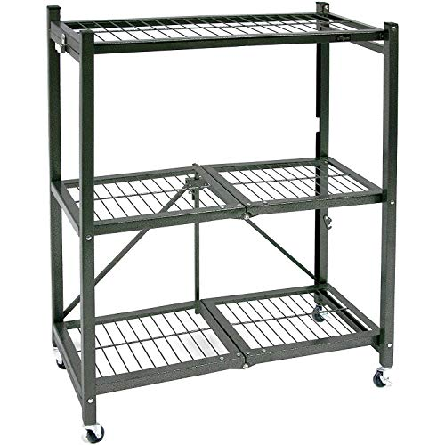 """Origami 3 Shelf Foldable Storage Unit on 3"""" Caster Wheels, Unfolds in 5 Seconds, Holds up to 750 Pounds, Metal Organizer Wire Rack, 29"""" x 13"""" x 36"""", Heavy-Duty - Pewter"""