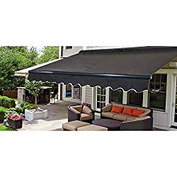 commercial ALEKO AWCM16X10BK81 Semi-cassette retractable patio awning, electric patio awning 16 x 10 feet (black) motorized retractable awnings