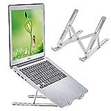 """Support pour ordinateur portable, universel léger en aluminium pour ordinateur portable, 9 angles, refroidissement ventilé réglable pour MacBook Air Pro, Dell, plus 25,4-15,6"""" Argenté"""
