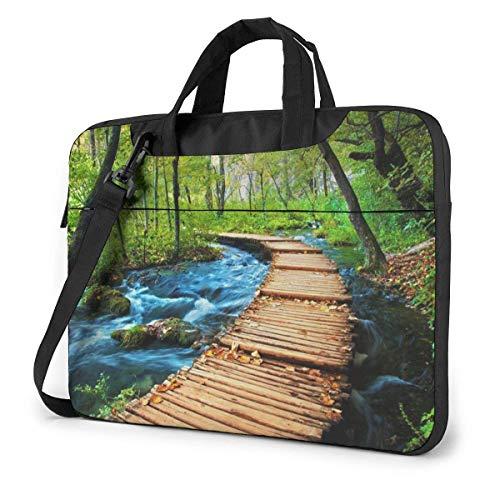 Wooden Bridge Stream Water Unisex Laptop Bag Messenger Shoulder Bag for Computer Briefcase Carrying Sleeve