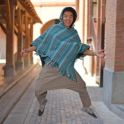 virblatt- Poncho Men Baja Poncho Mexican Hoodie Hippie Pullover Reversible Jerga Poncho Cotton Joe Winter- Abajo Green L XL