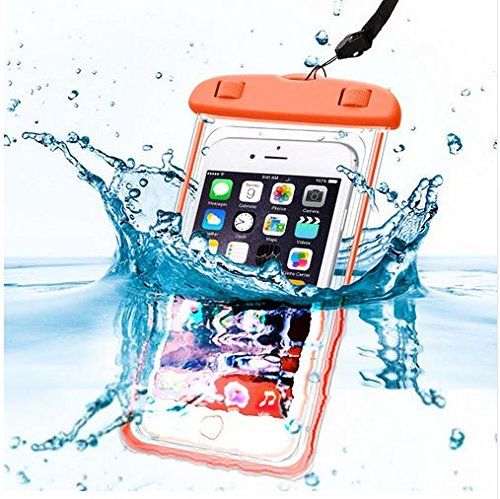 PHONILLICO Sac Waterproof Orange pour Samsung Galaxy A3 A5 A7 A8 J1 J3 J5 J7 Note 3 Note 4 S5 S6 S7 - Coque Housse Etui Pochette Protection