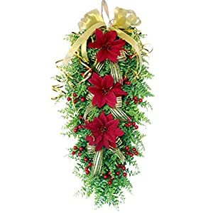 HOVEYY Artificial Christmas Teardrop Swag,Persian Grass Teardrop Swag,Door Swag with Berries Poinsettias Flowers and Ribbon Bows for Indoor & Wall Home Decor