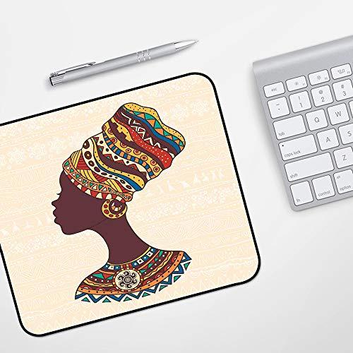 para Ratón con Cable o Inalámbrico,Decoración tribal, mujer africana en vestido de moda étnica tradicional retrato gráfico de glam,Impermeable Alfombrilla gruesa de goma antideslizante para ratón