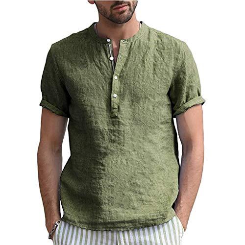Herren Uni feinripp Baumwolle und Leinen T-Shirt mit Knopfleiste & tiefem Ausschnitt deep V-Neck einfarbig große Knöpfe