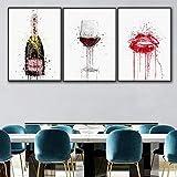 Arte de la pared Pintura en lienzo Botella de vino y vino tinto Póster moderno...