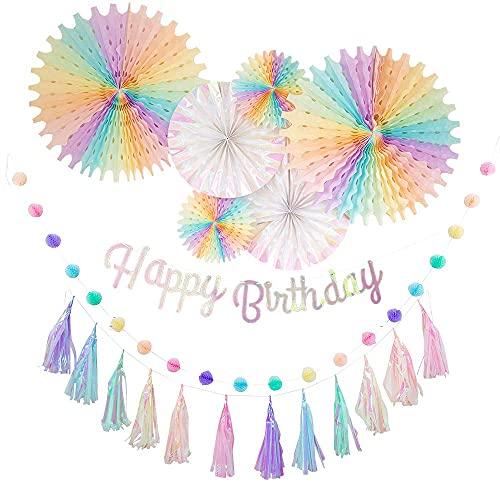 regalo 誕生日 飾り付け ガーランド 男の子 女の子 セット 飾り ペーパー バースデー HAPPY BIRTHDAY お洒落 かわいい (スノー)