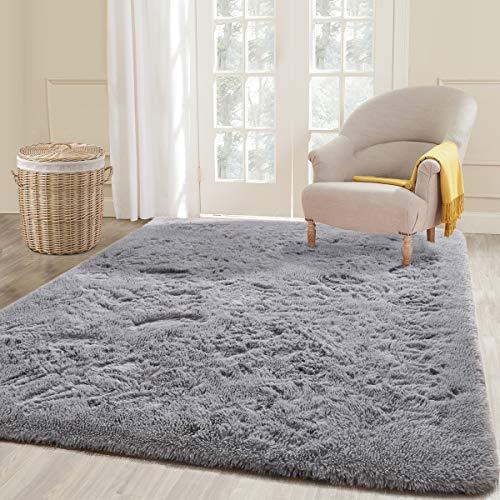 ECOBER Soft Velvet Fluffy Area Rug Modern Shag Rugs for Bedroom Living Room 5'x8', Extra Comfortable Carpets, Luxury Plush Carpet for Nursery Kids Girls Home, Gray