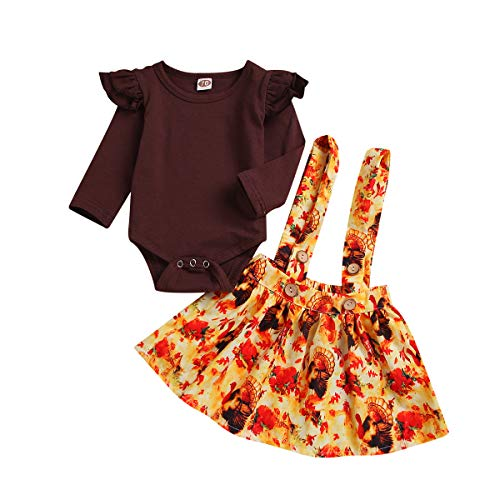 ZOELENIC Baby Girls Thanksgiving Outfit Ruffles Long Sleeve Romper + Turkey Suspenders Skirt Set (Brown, 6-12m)