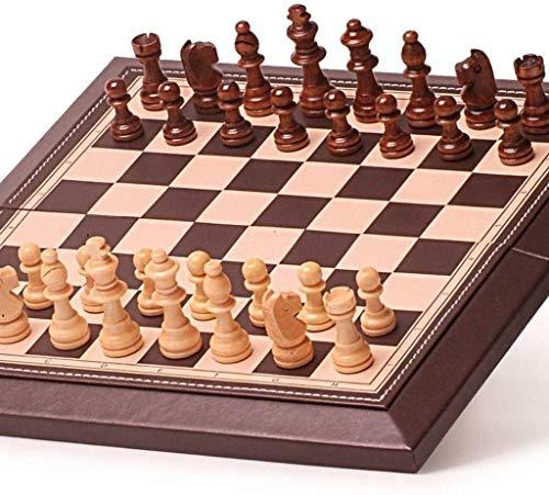 Ajedrez Conjunto de ajedrez Cuero plegable Tablero de ajedrez magnético Juego de ajedrez de ajedrez internacional juego Juego de familia portátil Backgammon y ajedrez (ejercicio de pensamiento intelec