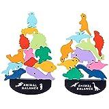 Juegos de bloques apilables de juguete de dinosaurio, juguetes educativos de madera, regalos de dinosaurio para niños de 2 a 3 a 4 años