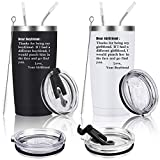 Set of 2 Dear Thanks for being my girlfriend/boyfriend, Engagement Valentine's Day Birthday Gift for Couples Girlfriend Her Women, 20 Oz Stainless Steel Travel Tumbler with 2 Lids and Straws