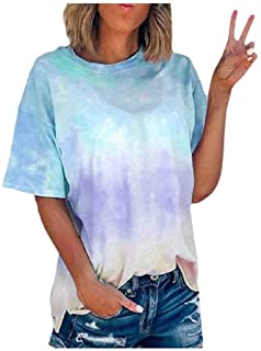 catmoew Tie Dye Camiseta de Mujer Manga Corta Moda Impresión Blusa Camisa Cuello Redondo Basica Camiseta Suelto Verano Top...