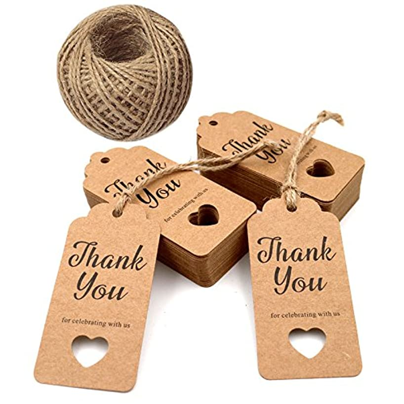 Gift Tags,Baby Shower Tags,Hollow Heart Thank You for Celebrating with Us Tags,100 Pcs Kraft Thank You Tags for Wedding Party Favors Thanksgiving with 100 Feet Natural Jute Twine