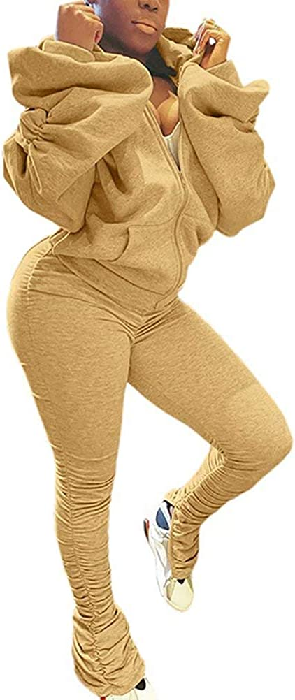 Neyaolk 2-Piece Outfits Women Sweatshirt Bargain sale - Ba Puff Sleeve New color Zipper