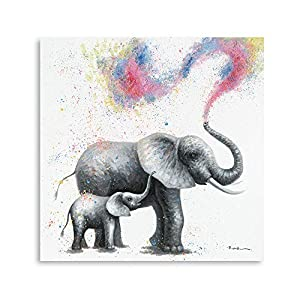 B BLINGBLING Elephant Decor Pictures for Wall: Mama and Baby Elephant Canvas Wall Art Colorful Painting Prints for Baby Girls Nursery Bedroom Decoration Framed and Ready to Hang (24″x24″x1panel)