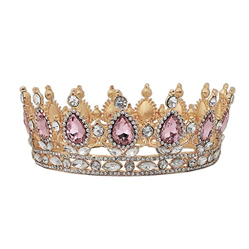 niumanery Crown Rhinestone Tiaras for Costume Party Hair Accessories with Gemstone Gold Pink