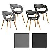 ESTEXO 2/4/6/8x Design - Esszimmerstuhl Modell Leif, Grau/Schwarz, Leder, Design, Küchenstuhl, Esszimmerstühle, Stuhl (4 Stück, Schwarz)