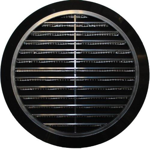 Griglia di ventilazione T36, Ø 100 / 110 / 120 / 125 / 150 mm, rotonda, in plastica nera, con zanzariera e sistema anti-odori di ritorno