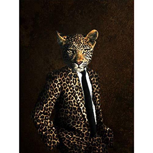 Noble Löwe Tiger Elefant Giraffe Wolf Pferd Wandposter Drucke Tier Leinwand Gemälde für Wohnzimmer 60X80cm