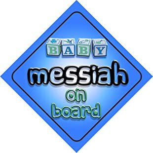 Baby Boy Messiah on board novelty car sign gift / present for new child / newborn baby