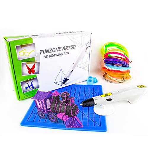 3D Pen 28 pc 3D Drawing Pen 20 Colours PLA 2 metres Each with 3D Pencil Drawing Silicone Mat with Replacement Nozzle Kids Safe 3D Printing Smart Pen Safety kit