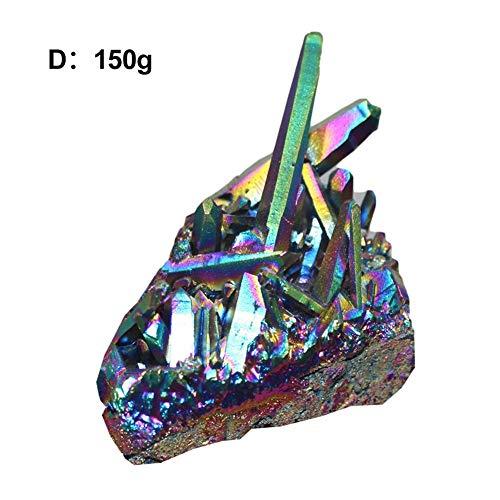 Muestras de racimo de cristal de amatista natural, muestra de racimo de cuarzo de cristal de roca de arco iris recubierto de titanio natural, estatuilla de muestra de piedras preciosas decoración